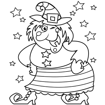 345x345 Coloring Pages Happy Witch Halloween Witches
