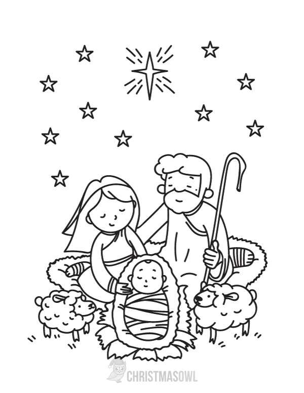 600x776 Free Nativity Coloring Page