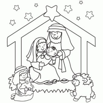 340x340 Nativity Coloring Page