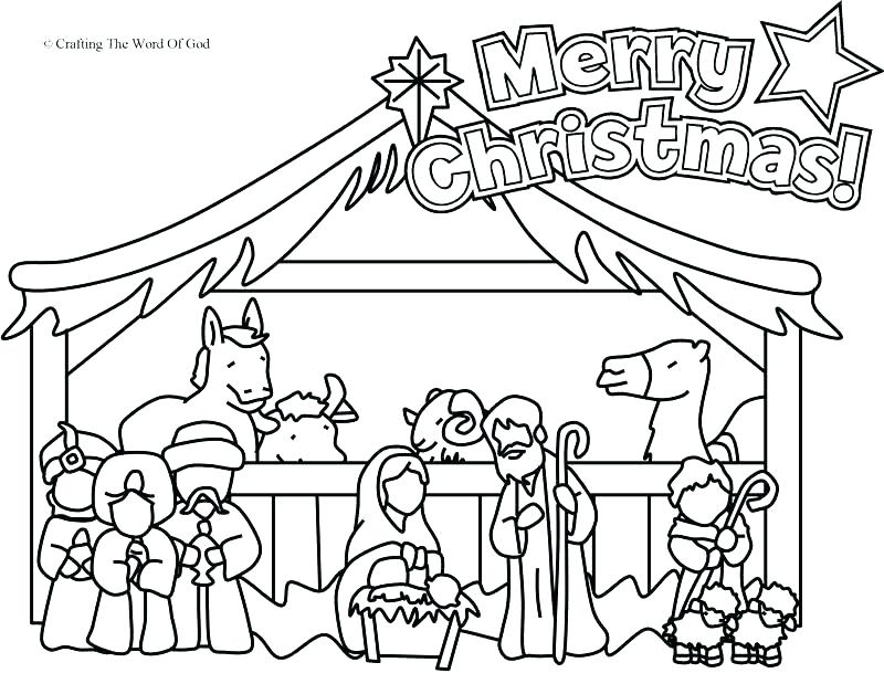 800x609 Nativity Scene Colouring Printable Nativity Scene Coloring Pages