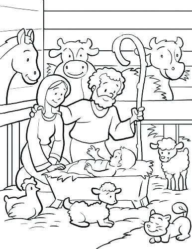 386x500 Simple Nativity Coloring Pages Vanda