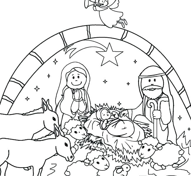 650x600 Nativity Coloring Pages Color