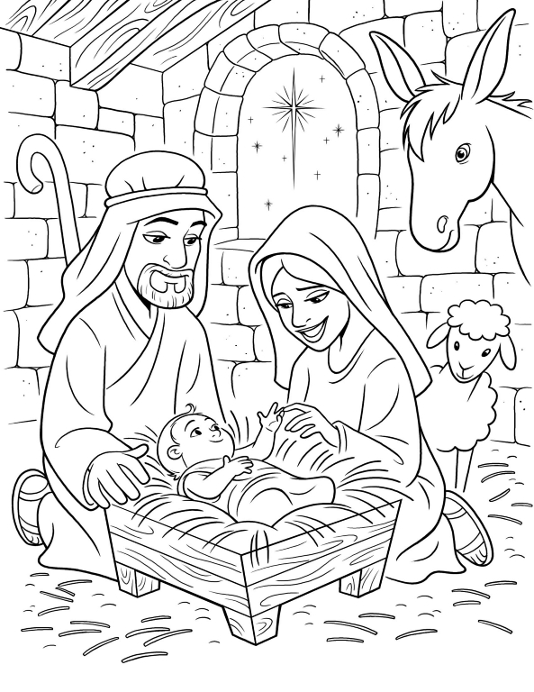 593x768 Nativity Scene Coloring Pages