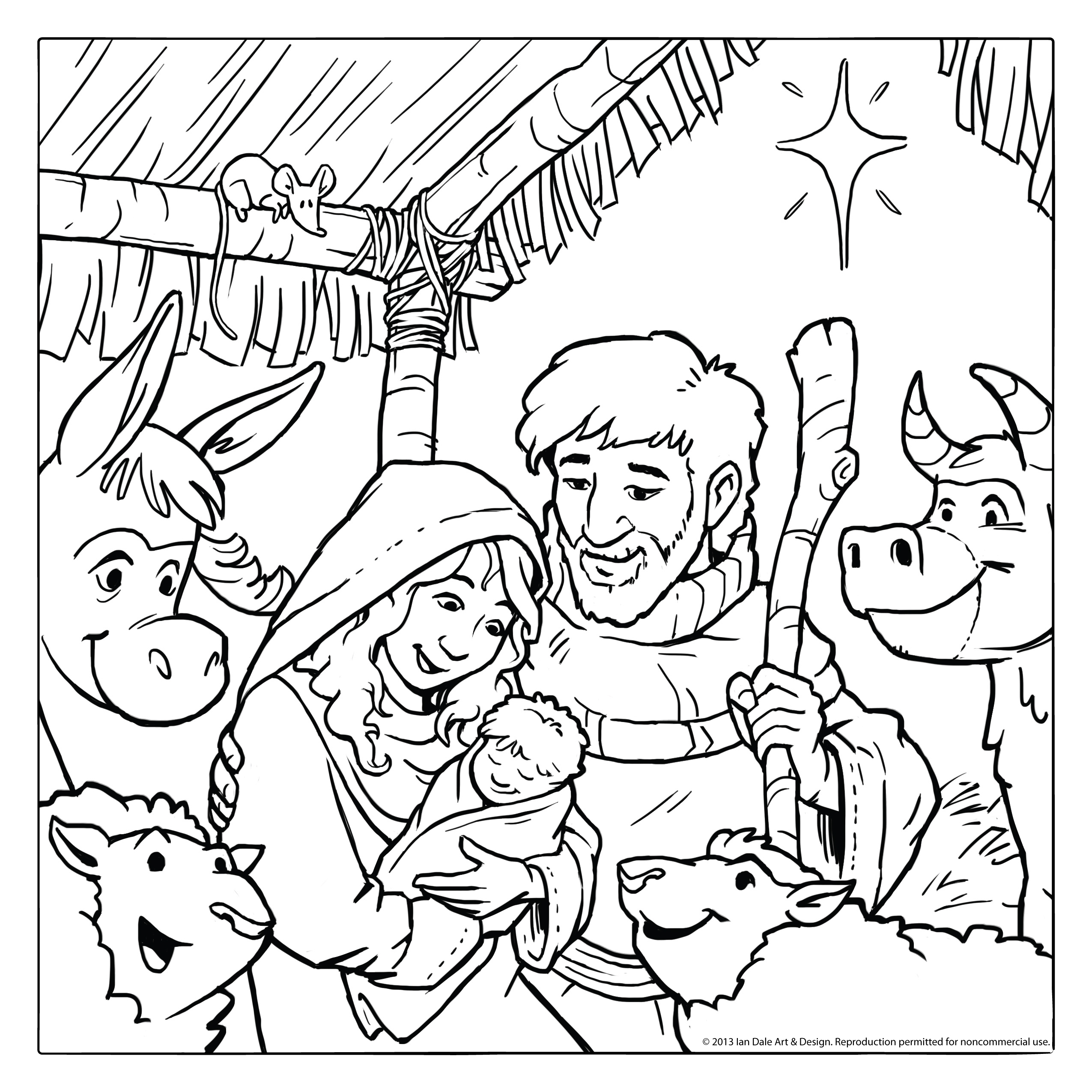 2550x2550 Nativity Scene Coloring Pages