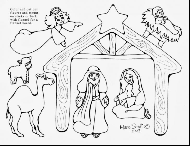 728x560 Nativity Scene Coloring Pages