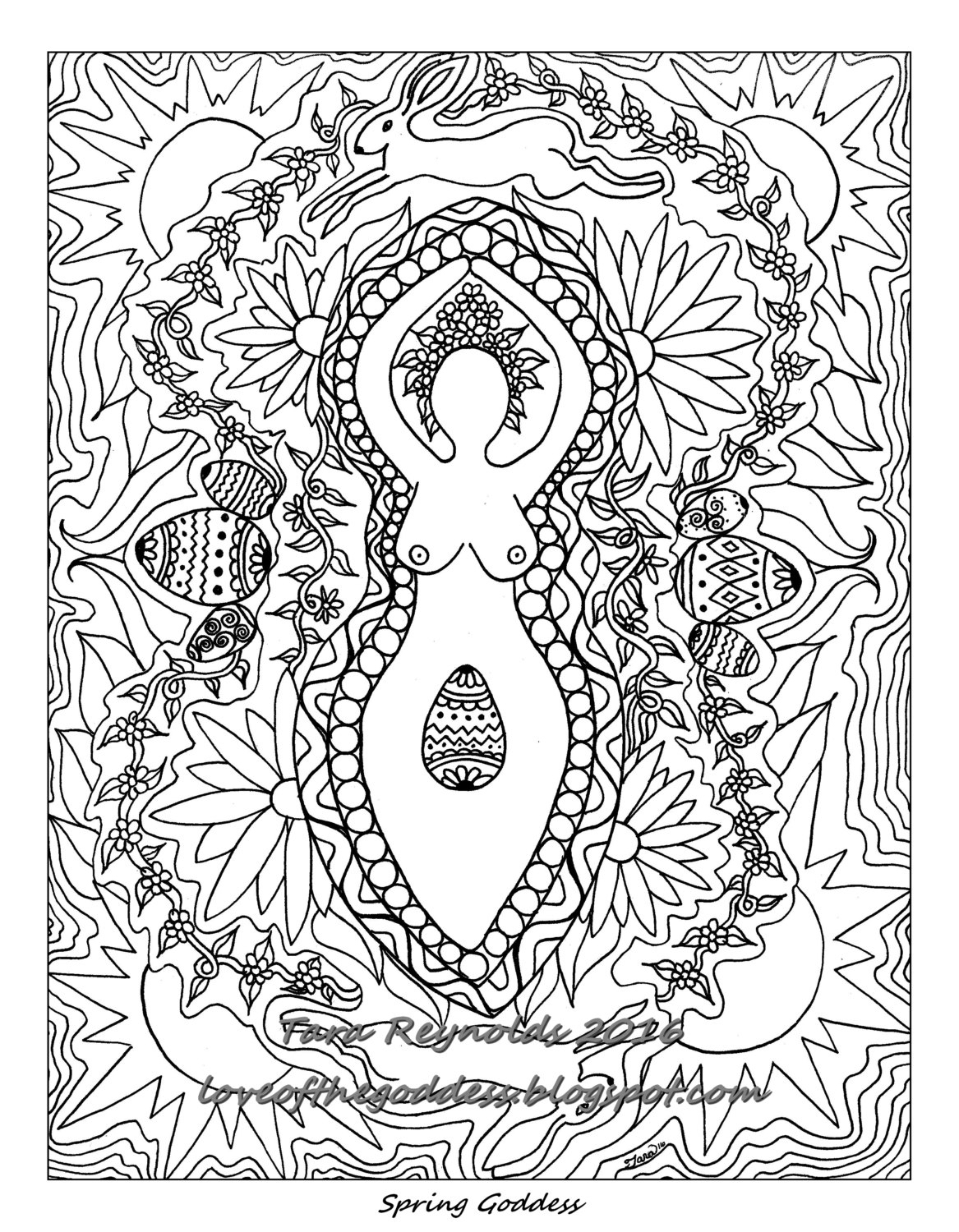 1167x1500 Coloring Book Page Printable Pages Ostara Goddess On Free Pagan