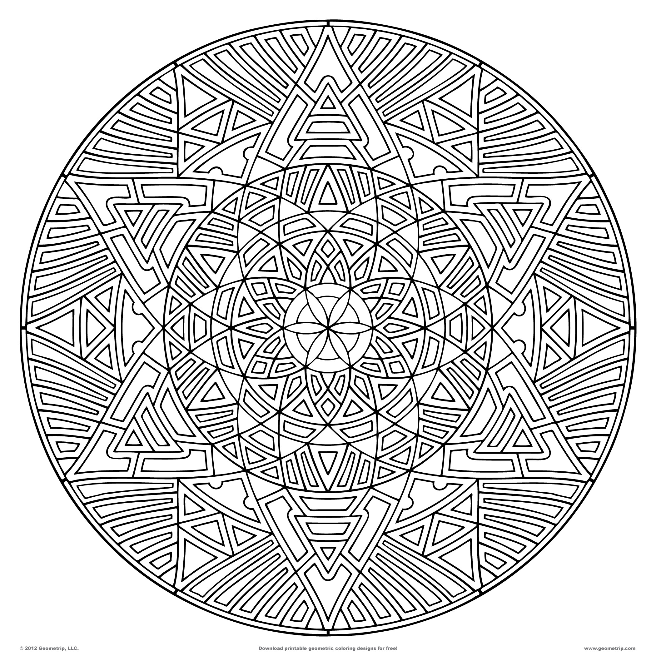 2100x2100 Free Geometric Coloring Pages