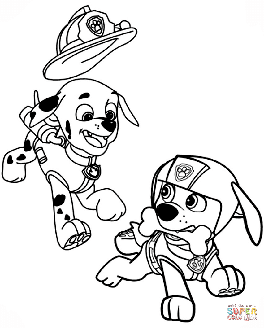 853x1059 Marshall And Zuma Coloring Page To Free Pages Paw Patrol