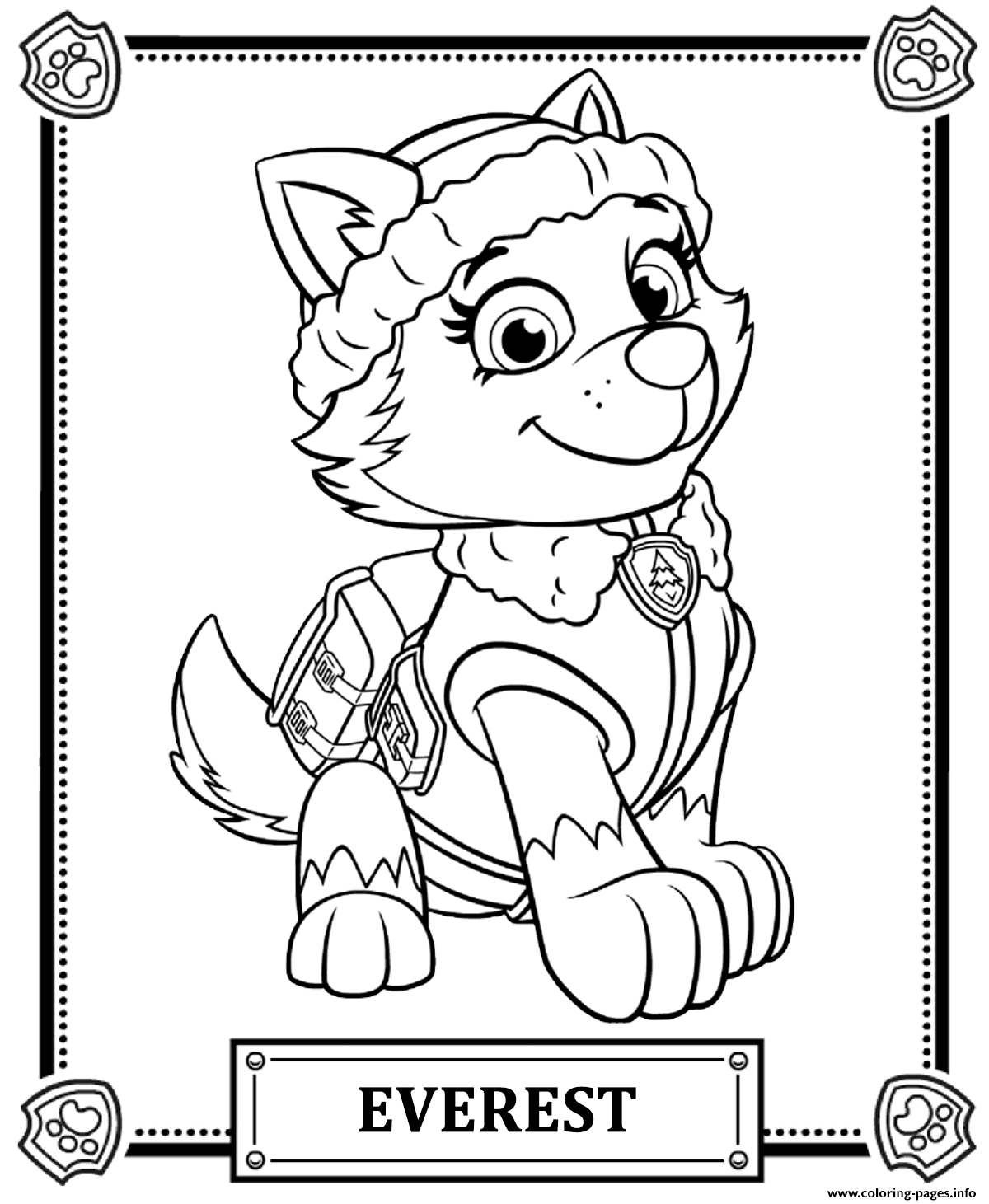 1200x1461 Print Paw Patrol Everest Coloring Pages Birthday With Skye