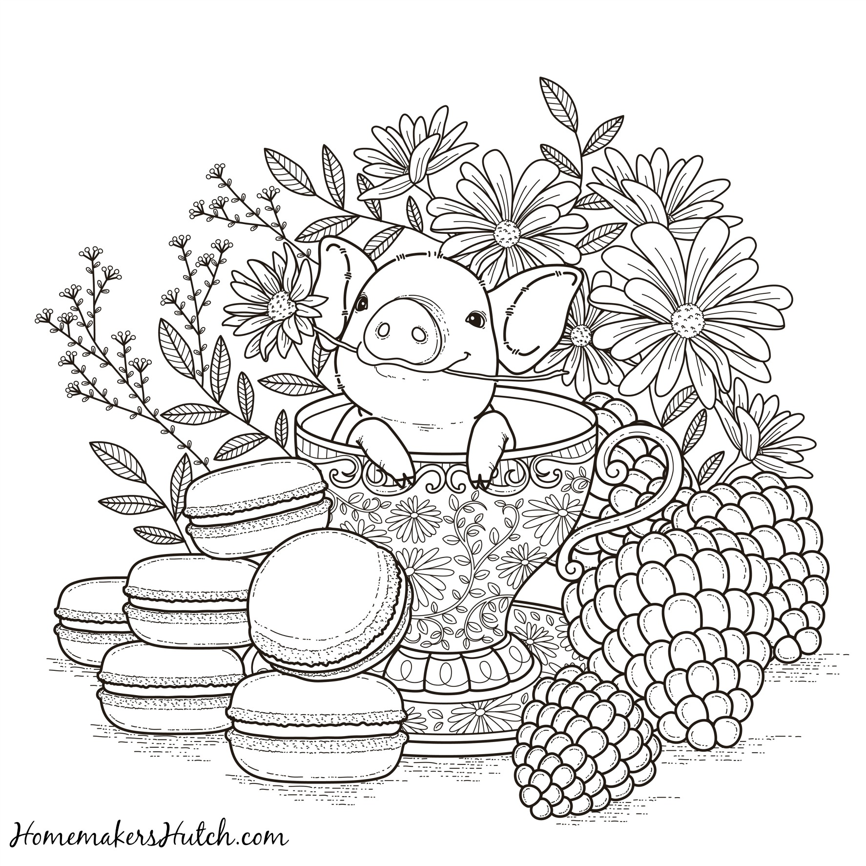 1774x1774 Pig In A Tea Cup Adult Coloring Page Homemaker S Hutch New