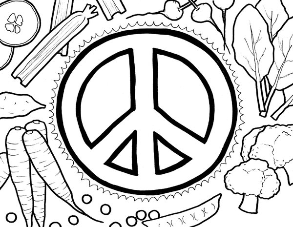 600x465 Peace Sign Coloring Pages Vegetables Free Printable Bebo Pandco