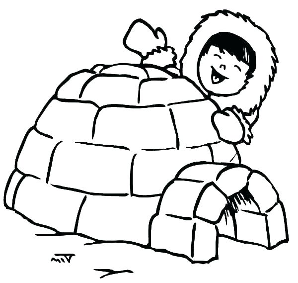 600x569 Free Penguin Coloring Pages Free Penguin Coloring Pages Igloo