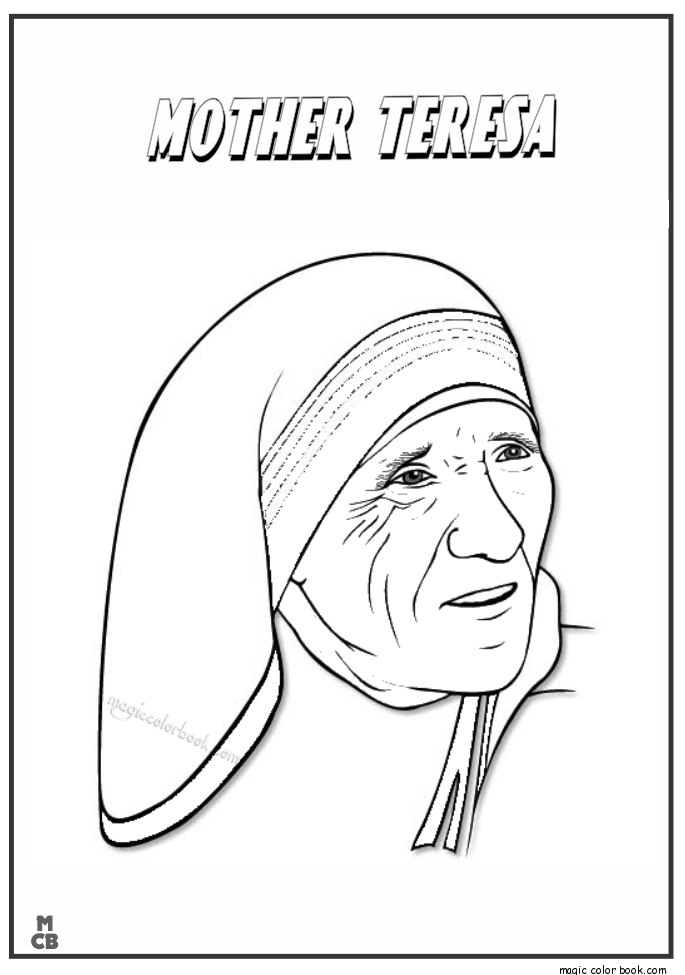 685x975 Famous People Coloring Pages Mother Teresa