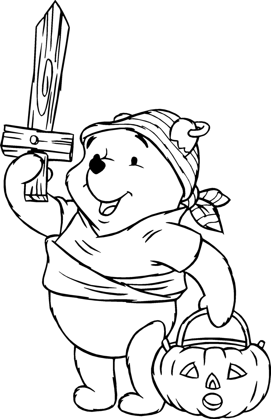 932x1443 Halloween Pooh Pirate Costume Coloring Pages For Kids Free