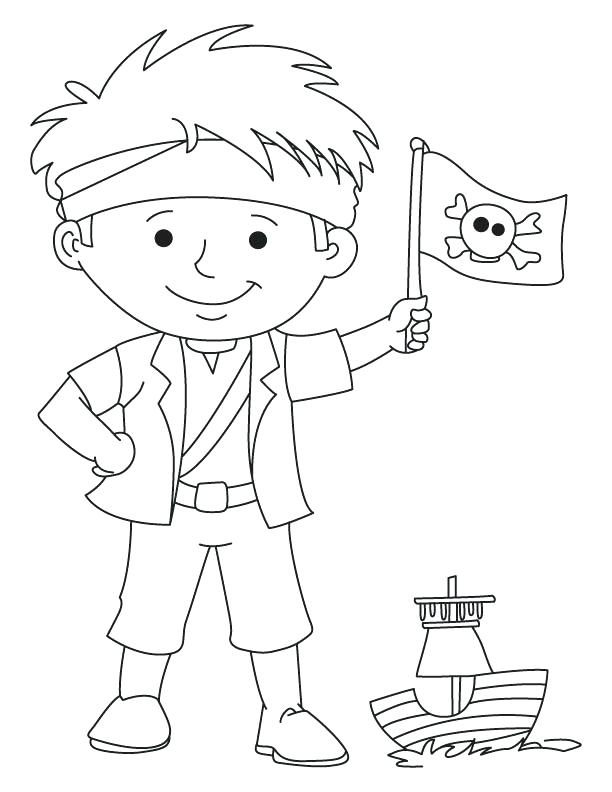 612x792 Free Pirate Coloring And Pirate Boy Waving Flag Coloring Page