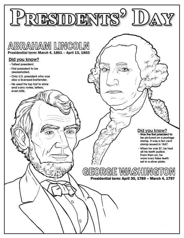 612x792 Free Printable President's Day Coloring Pages