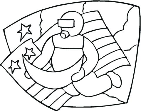 480x381 American Flag Coloring Pages For Toddlers Astronaut Moon And Flag