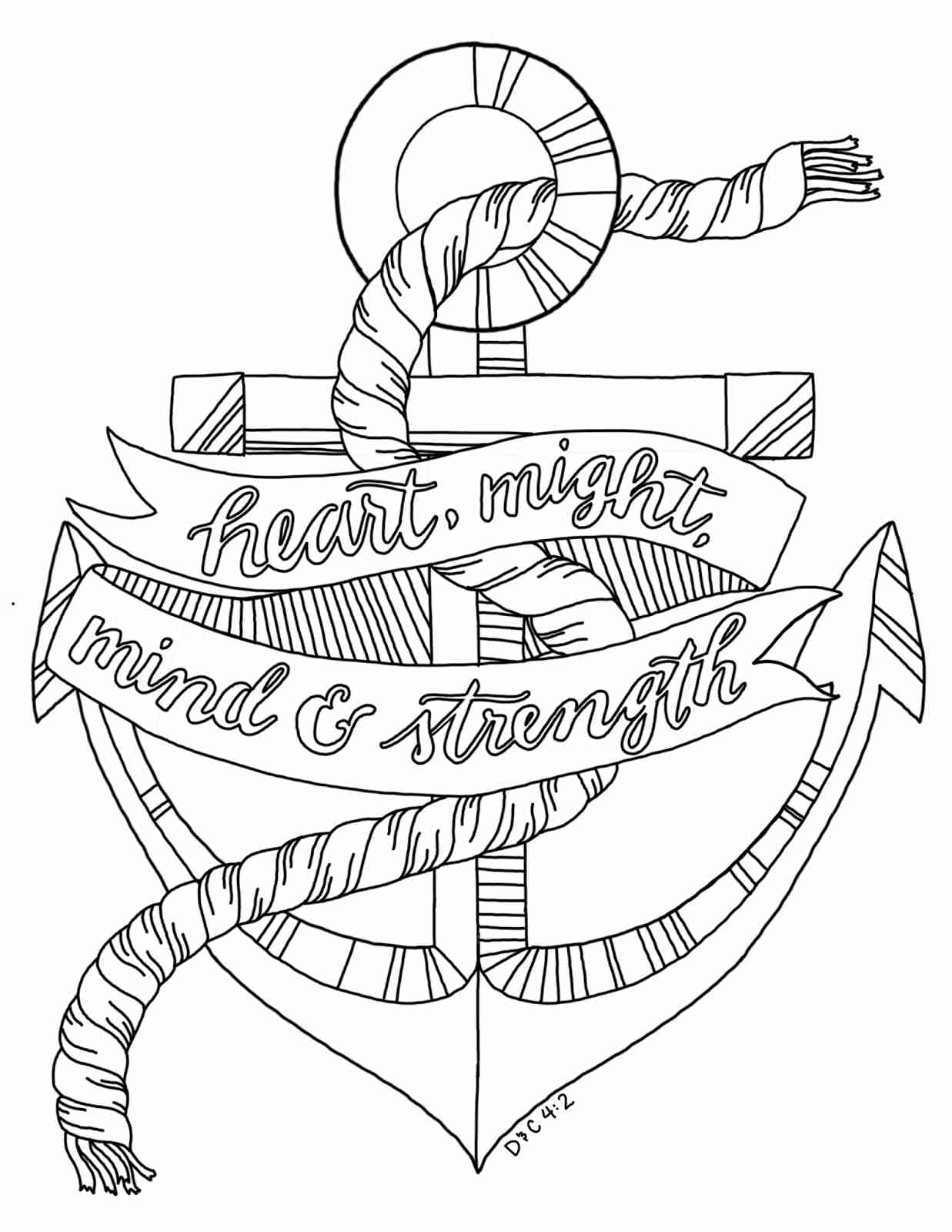 1237x1600 Anchor With Rope Coloring Page Free Printable Pages Also Olegratiy