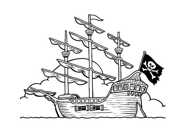600x429 Pirate Ship Coloring Pirate Ship On Anchor Coloring Page Kids Play