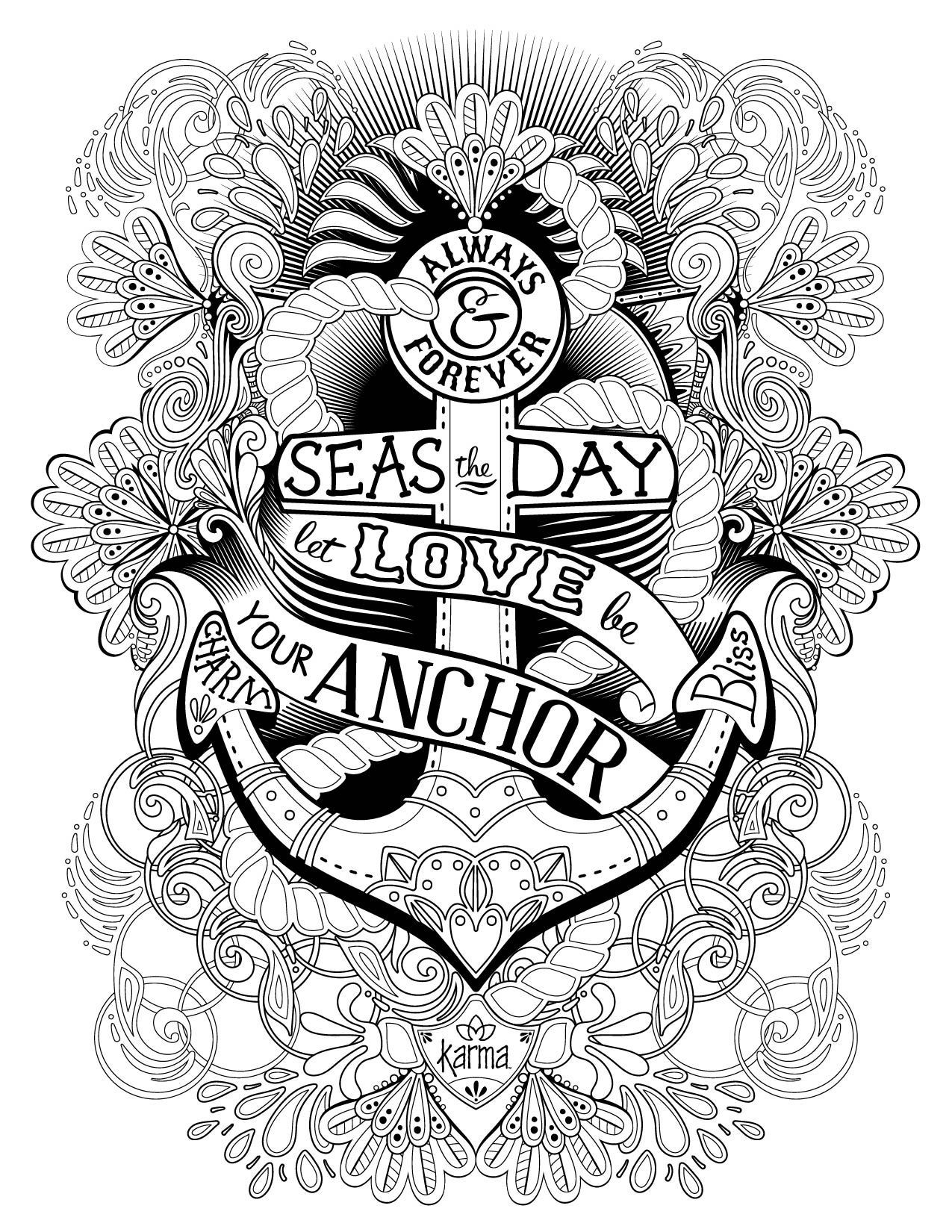 1275x1650 Anchor Coloring Page With Rope Free Printable Pages Auto Market Me