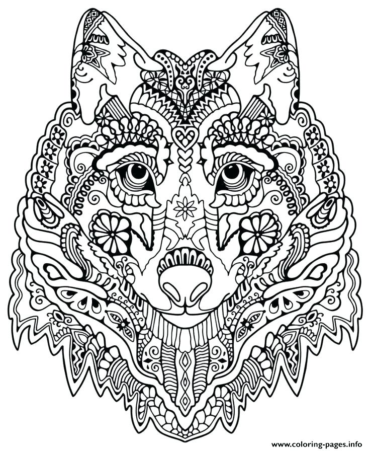 736x896 Mandala Printable Coloring Pages Wolf Coloring Pages For Adults
