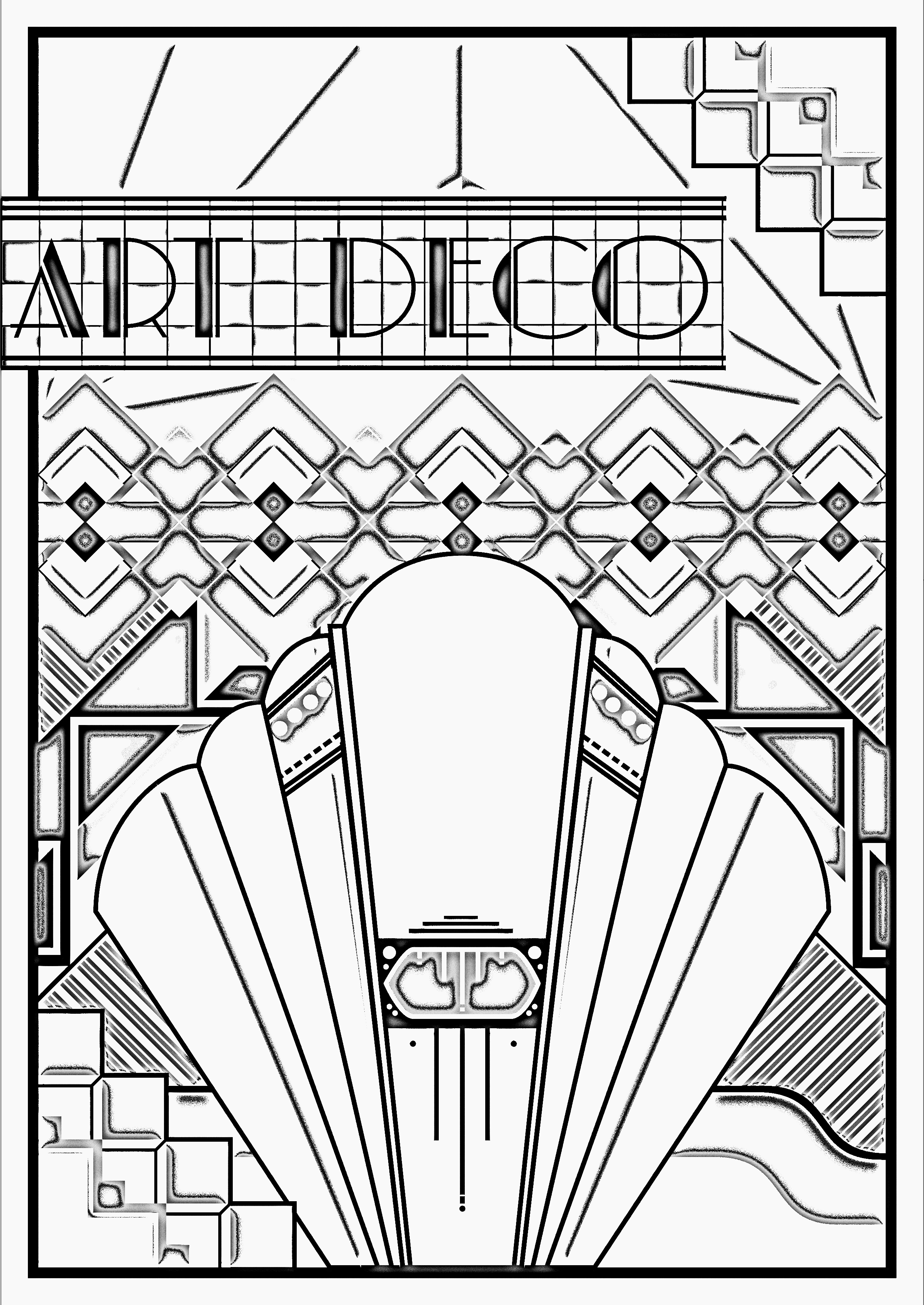 2485x3508 Art Deco Coloring Pages Poster For Adults Justcolor