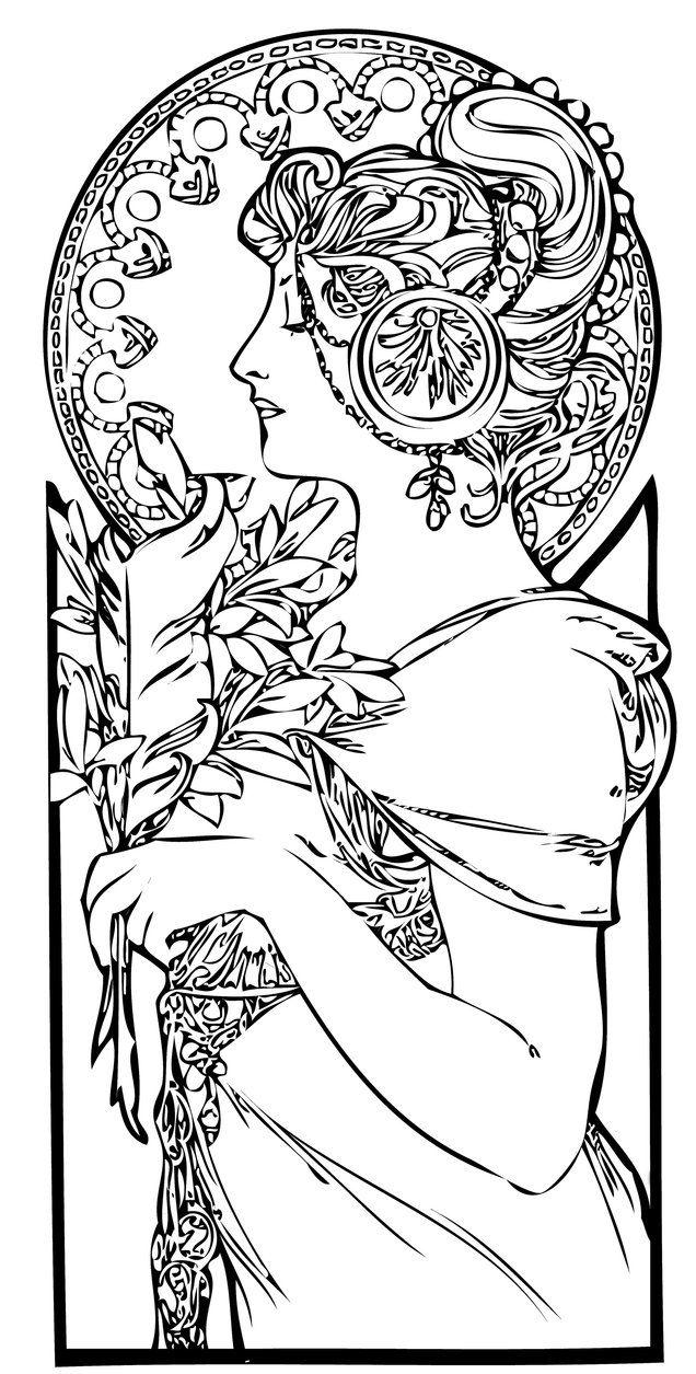 636x1255 Art Nouveau Coloring Pages