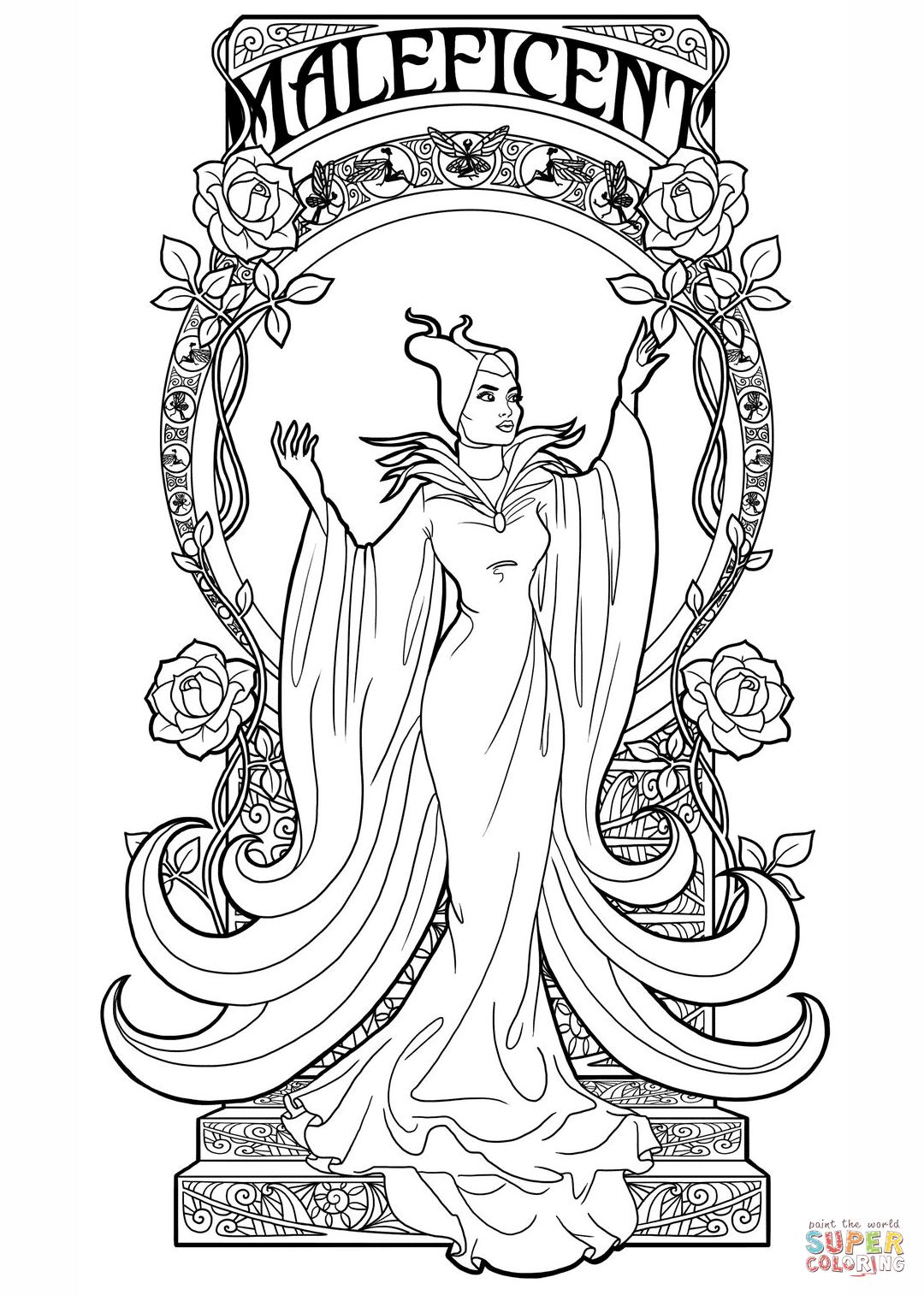 1080x1514 Art Nouveau Maleficent Coloring Page Pages