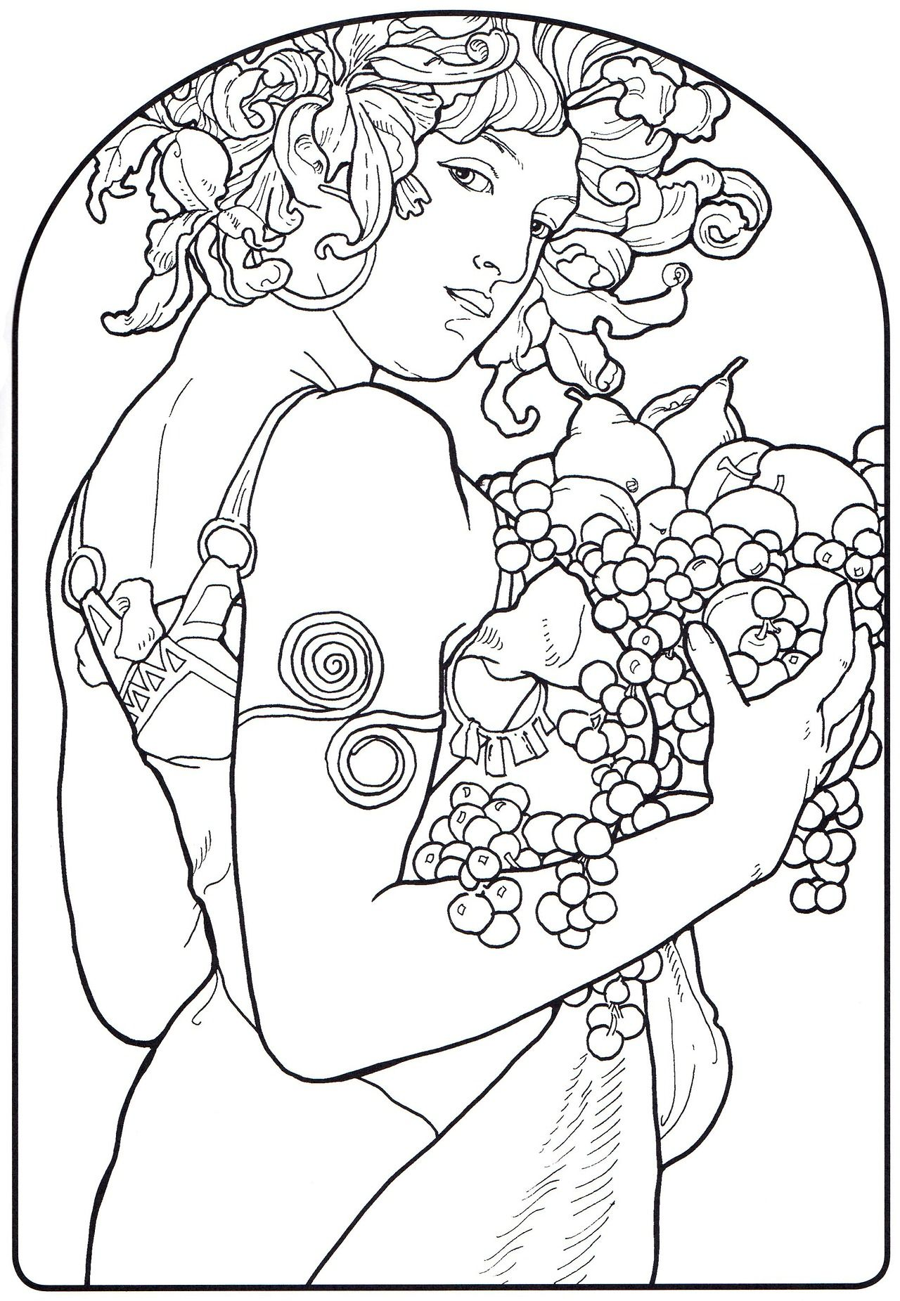1280x1851 Alphonse Mucha Line Art Alphonse Mucha Coloring Pages Mucha
