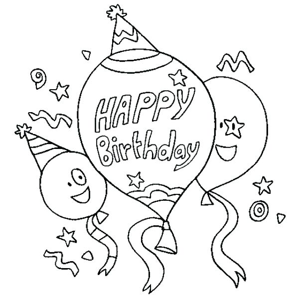 600x600 Birthday Coloring Pages Free Happy Birthday Card Coloring Pages