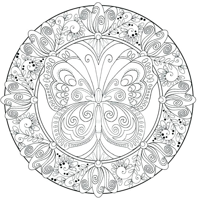 650x655 Butterfly Coloring Pages For Adults Printable Free Printable