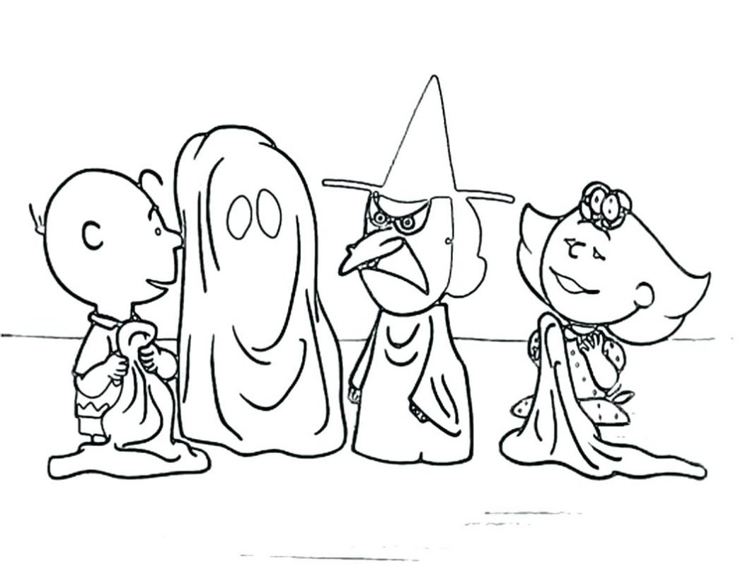 1043x805 Peanuts Halloween Coloring Pages Printable With Witch Color