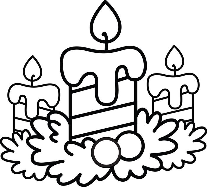 700x631 Christmas Candles Coloring Pages Free Printable Christmas Candles
