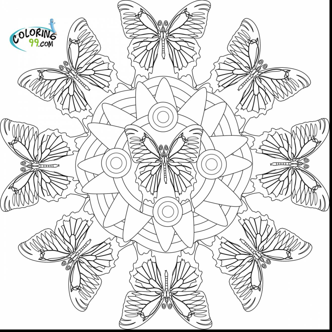 1320x1320 Spectacular Printable Butterfly Mandala Coloring Pages With Free