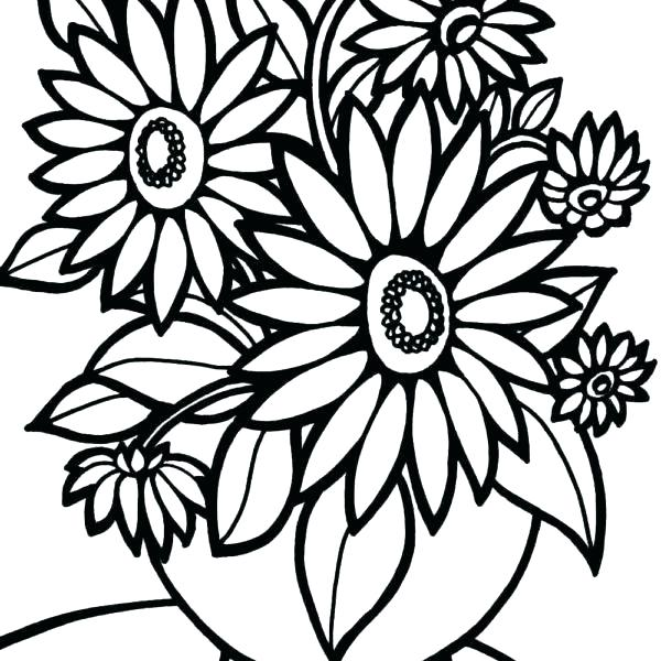 600x600 Coloring Pages Flowers Printable Printable Coloring Pages
