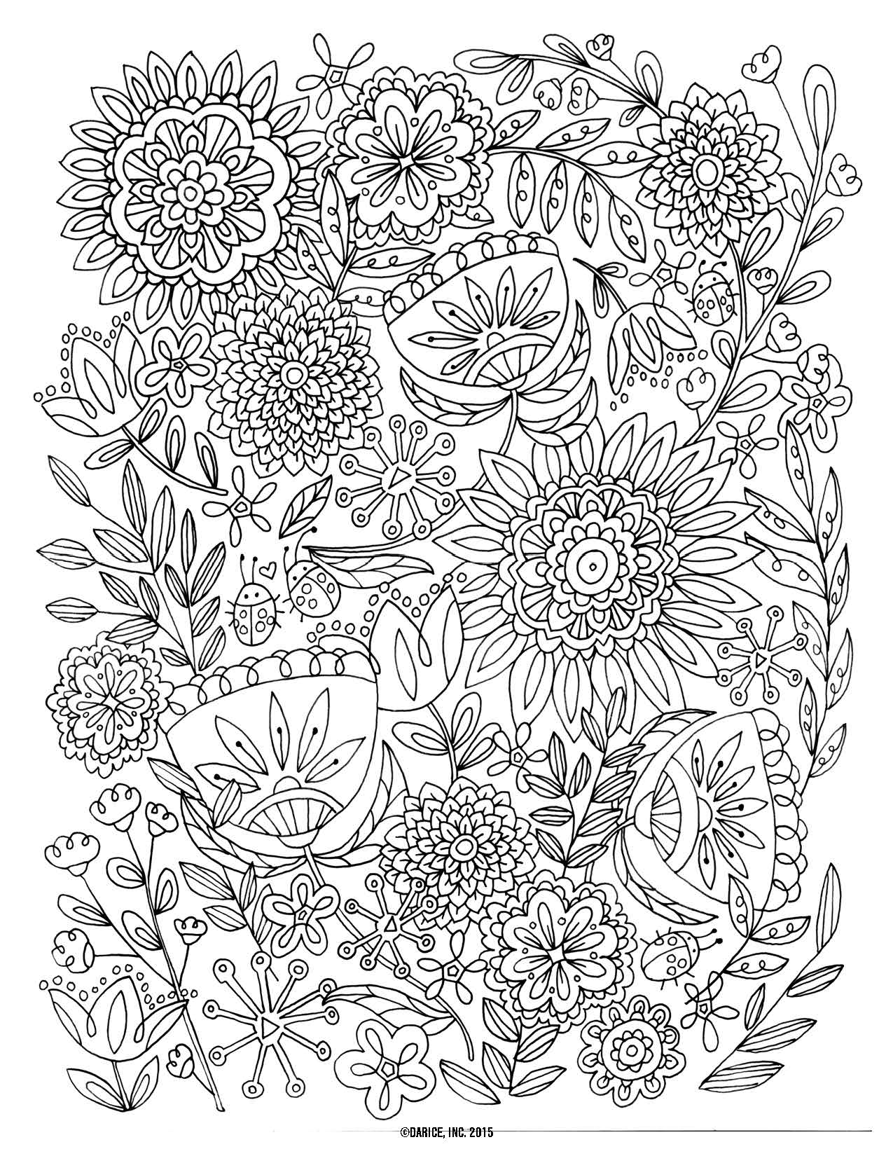 1275x1650 Pleasant Design Free Printable Flower Coloring Pages For Adults