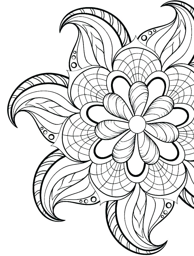 736x971 Coloring Pages For Adults Flowers