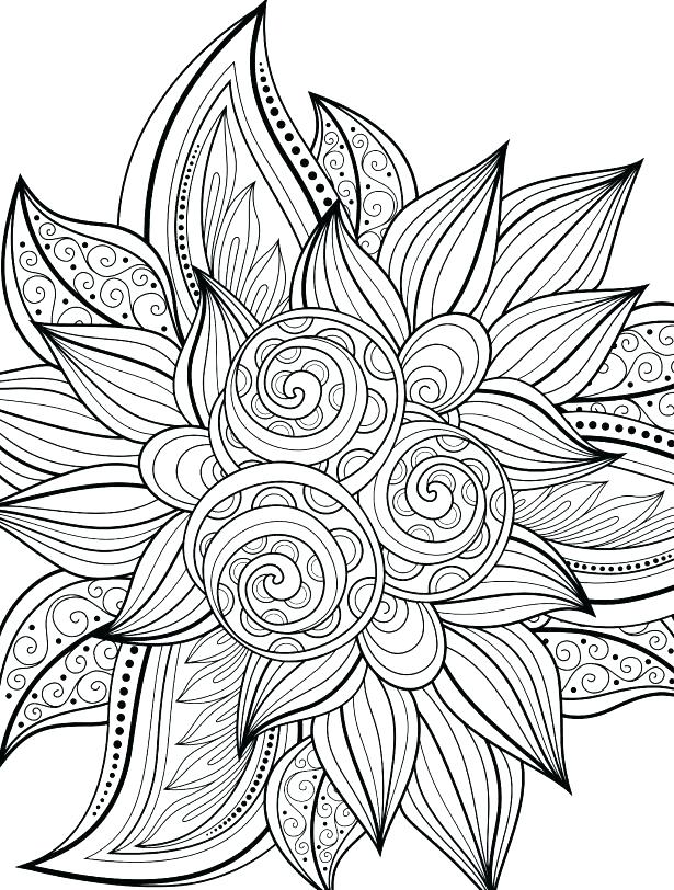 615x812 Hard Flower Coloring Pages Free Printable Coloring Pages