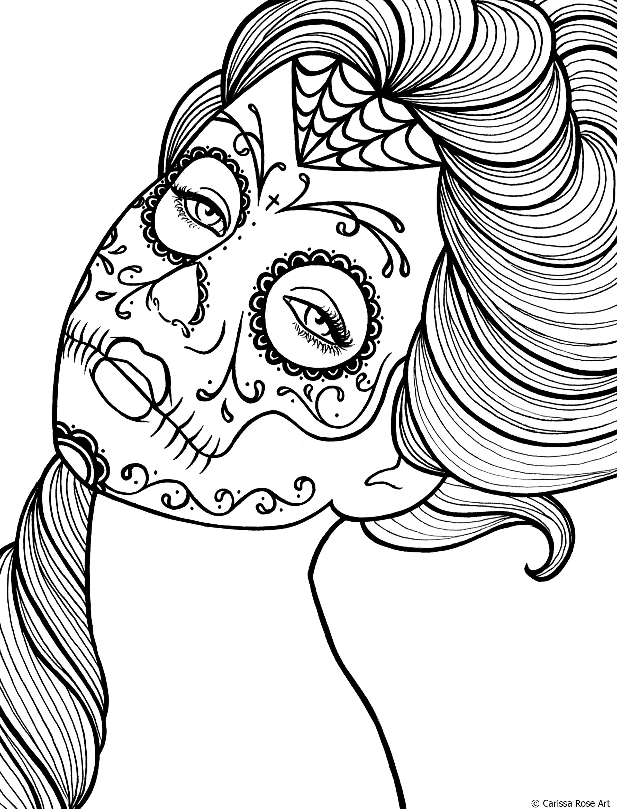 2400x3150 Free Printable Day Of The Dead Coloring Book Page