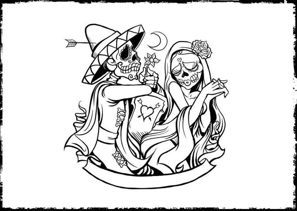 1024x728 Free Printable Day Of The Dead Coloring Pages