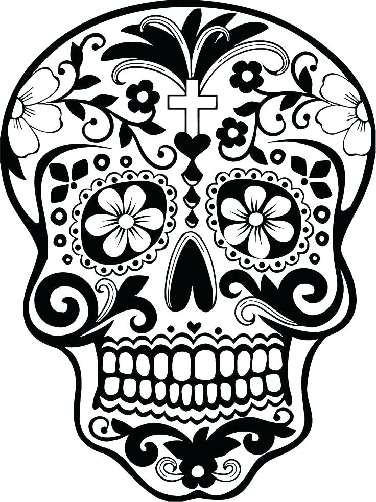 736x983 Free Printable Sugar Skull Coloring Pages Day Of The Dead Coloring