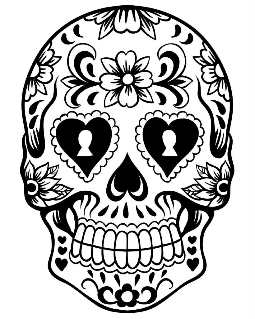 820x1024 Day Of The Dead Skull Coloring Page Collections Free Coloring