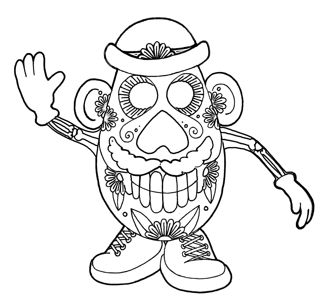 1259x1170 Limited Day Of The Dead Coloring Pages For Adults Sugar Skull Page