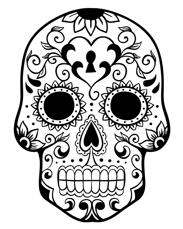 600x750 Printable Day Of The Dead Sugar Skull Coloring Page