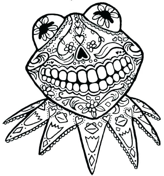 569x611 Day Of The Dead Skull Coloring Pages Printable Deepart