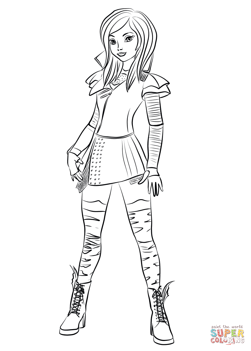 858x1200 Mal Coloring Pages Mal From Descendants Coloring Page Free