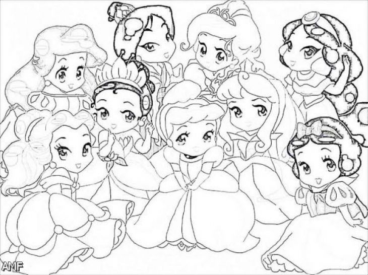 730x546 Little Disney Princesses Very Cute Coloring Page For Girls