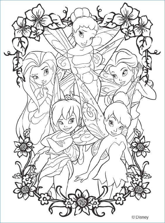 564x762 Tinkerbell And Flowers Coloring Pages