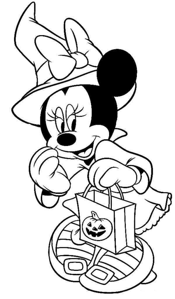 600x1024 Disney Halloween Minnie Coloring Sheet For Kids Picture