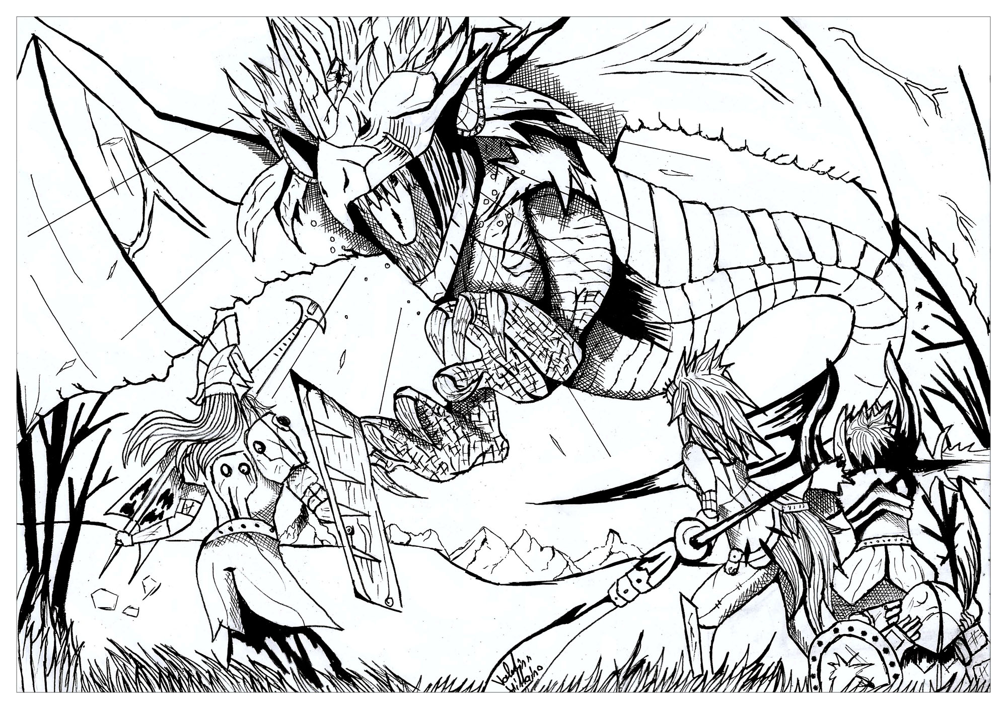2000x1408 Dragon Hunter Par Valentin Dragons Coloring Pages For Adults